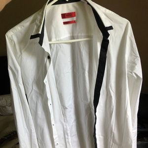 Hugo Boss white button down with black accents